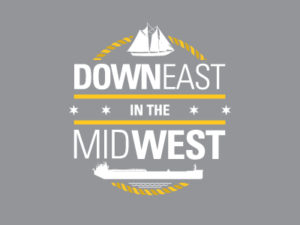Downeast in the Midwest White Logo Design