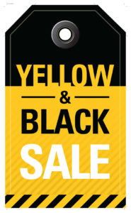 Black and Yellow Sales Event Tag